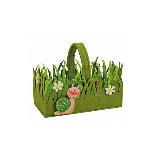 Luxe paasei mandje groen vilt