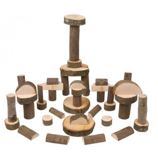 Massief houten bouwblokken met schors