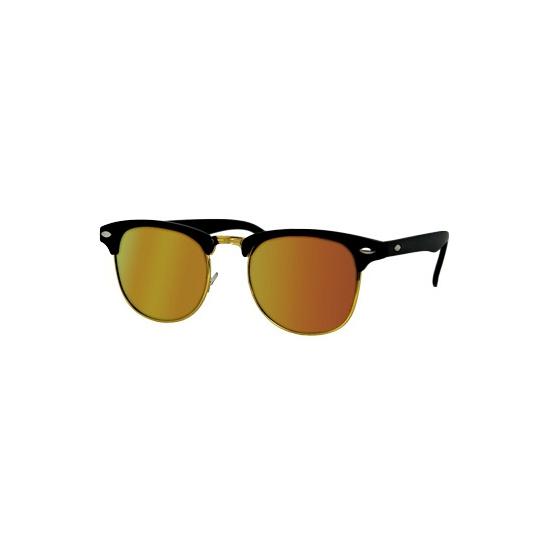 Matzwarte Clubmaster bril met oranje randje