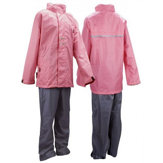 Meisjes regenkleding roze en grijs