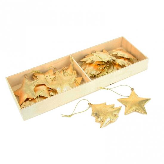 Metalen kerst ornamenten goudkleur