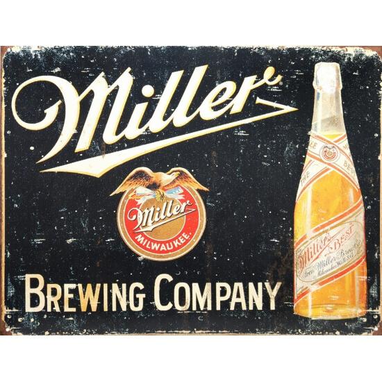 Metalen wandplaat Miller brewing company