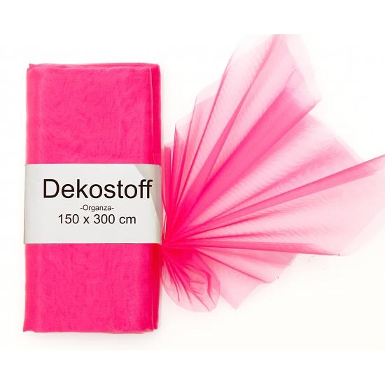 Neon roze organza stof 150 x 300 cm