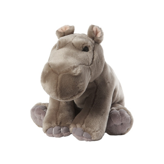 Nijlpaard knuffel met kraalogen 22 cm