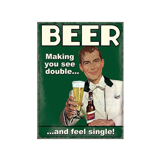 Nostalgisch bord Beer feel single