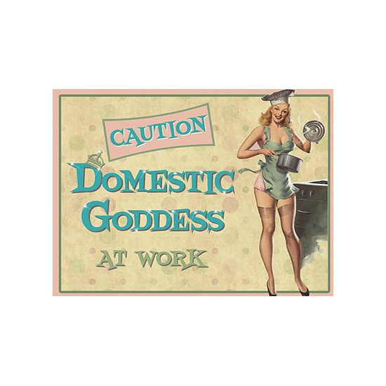 Nostalgisch bord Domestic Goddess
