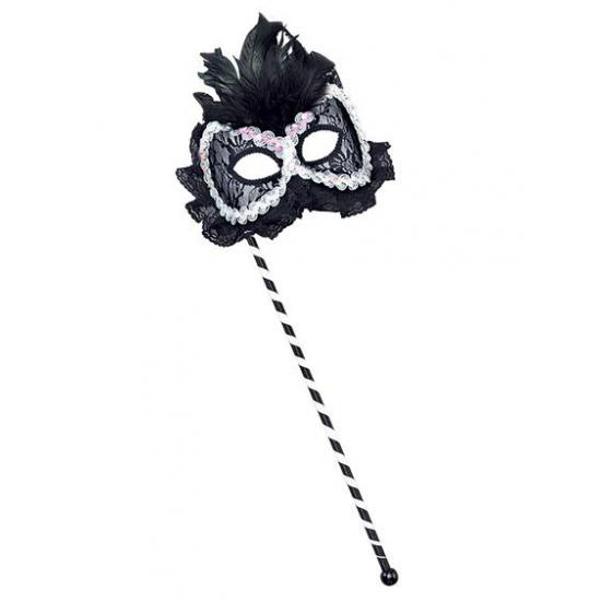 Oogmaskers op stokje zwart wit