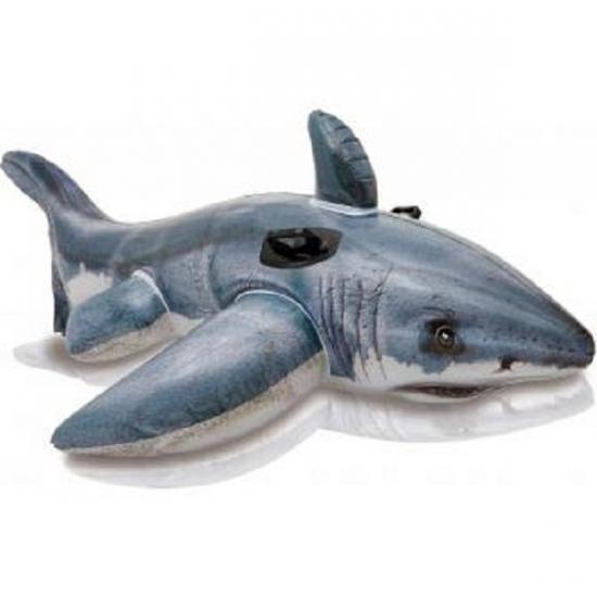 Opblaasbaar speelgoed witte haai 173 cm