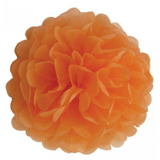 Oranje bloem pompom 25 cm