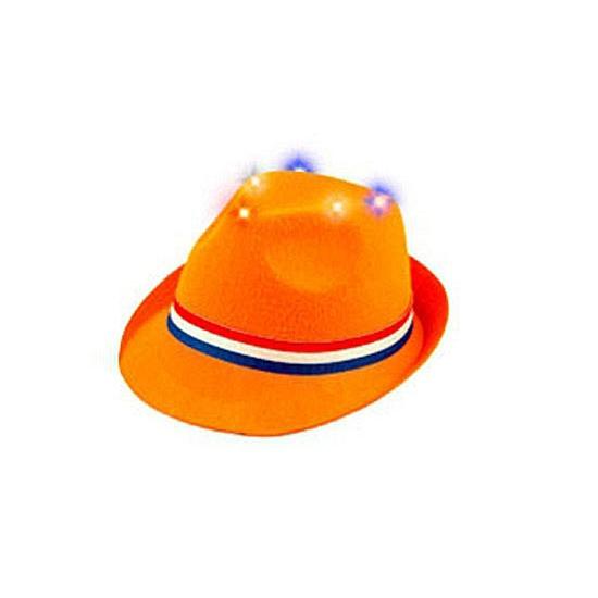 Oranje feesthoed met verlichting