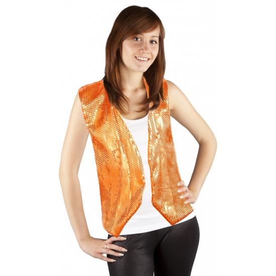 Oranje gilet one size pailletten