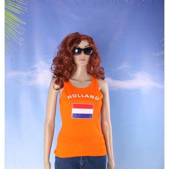Oranje mouwloos shirt met Holland print