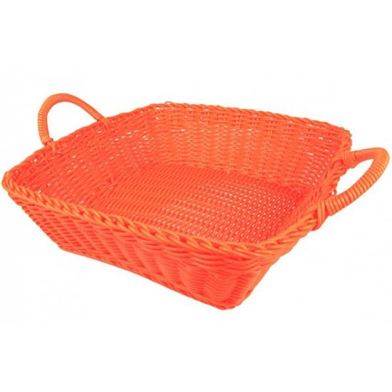 Oranje opbergmandje vierkant 25 cm
