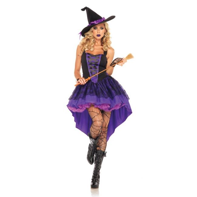 Paarse heks kostuum met hoed