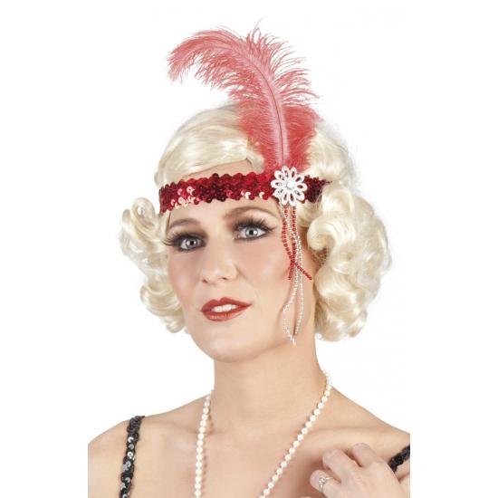 Pailletten hoofdband rood met veer