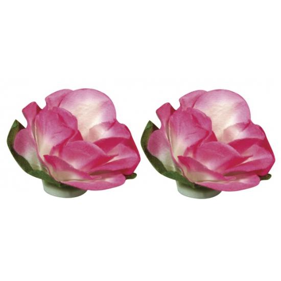 Papieren decoratie bloemen roze 1 5 cm