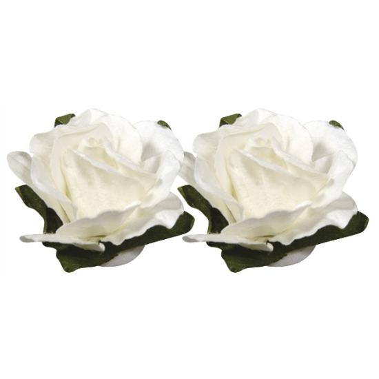 Papieren decoratie bloemen wit 1 5 cm