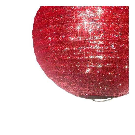 Papieren glitter lampion rood