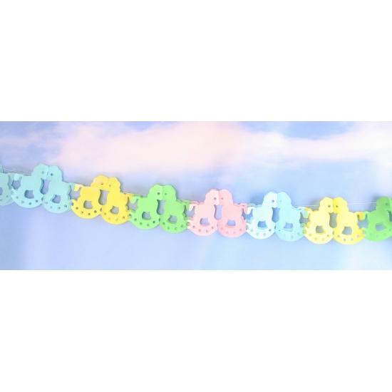 Papieren hobbelpaard slinger gekleurd 6 meter
