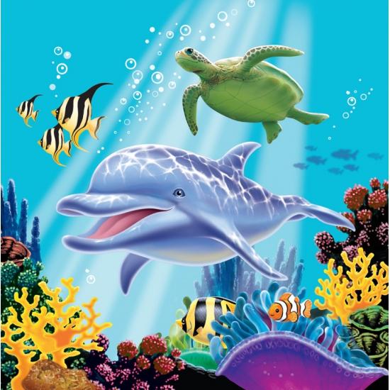 Papieren oceaan thema servetten 16 stuks