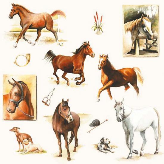 Papieren servetten met paarden print 20 stuks