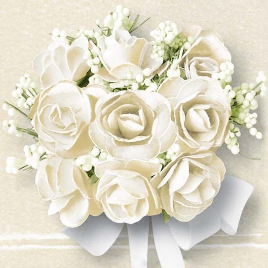 Papieren servetten met witte rozen 20 stuks
