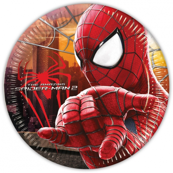 Papieren Spiderman feest bordjes 8 stuks
