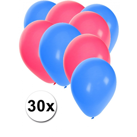 Party ballonnen blauw en roze 30 stuks