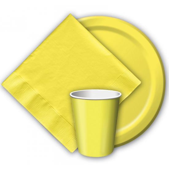 Party borden geel 8 stuks