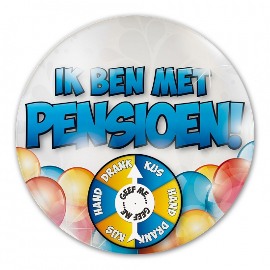 Party button ik ben met pensioen