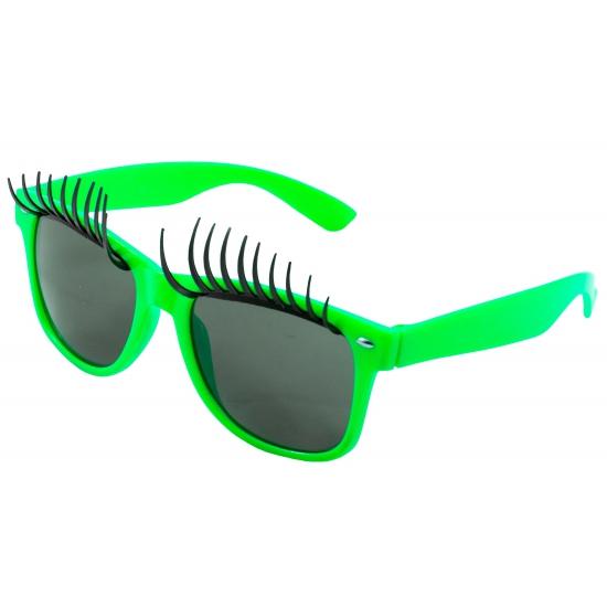 Partybril neon groen met wimpers