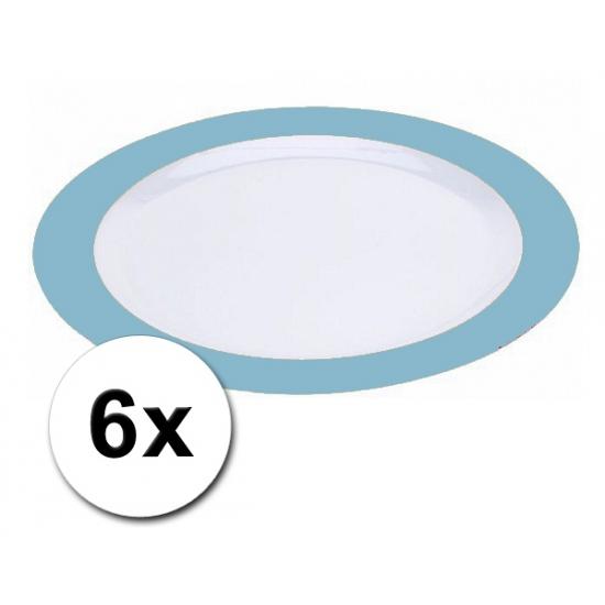 Platte plastic borden blauw 6 stuks