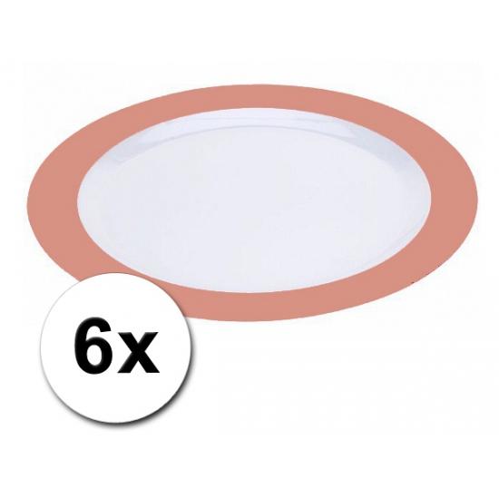 Platte plastic borden oranje 6 stuks
