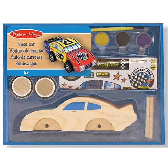 Race auto bouwpakketje van hout