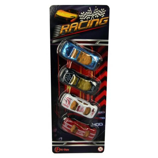 Raceautos op blisterkaart 4 stuks