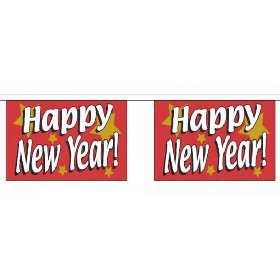 Recht hoekige happy new year vlaggenlijn