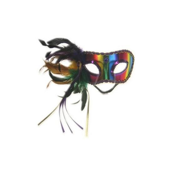 Regenboog veren oogmasker