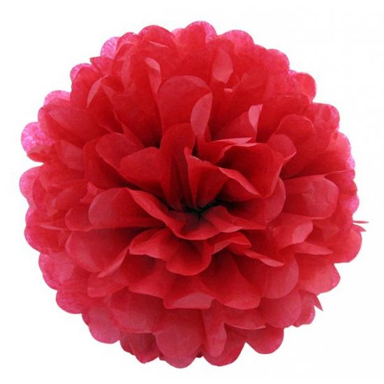 Rode bloem pompom 25 cm