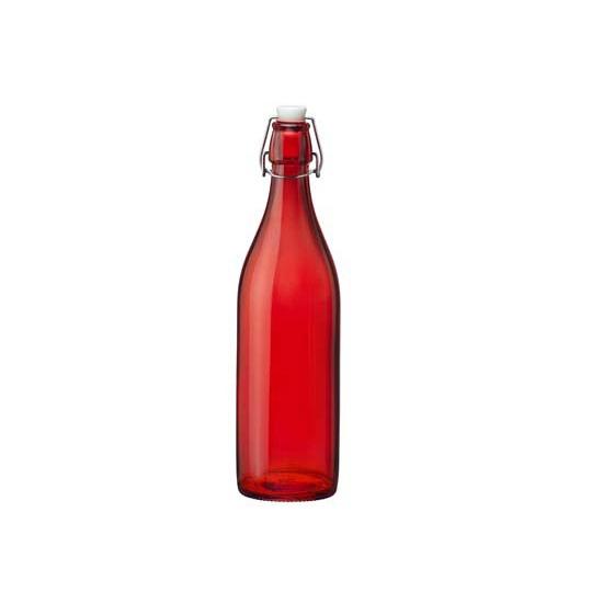 Rode giara decoratie flessen