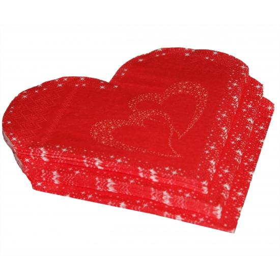 Rode hartjes feest servetten 20 stuks
