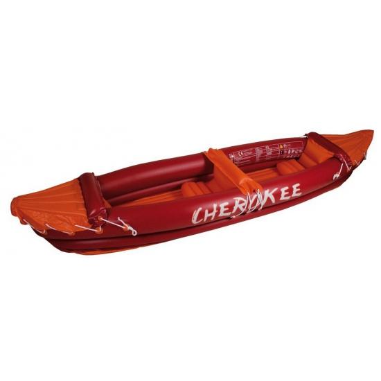 Rode opblaas kano met peddels