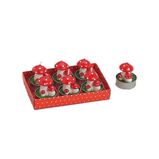 Rode paddenstoeltje kaarsjes 6 stuks