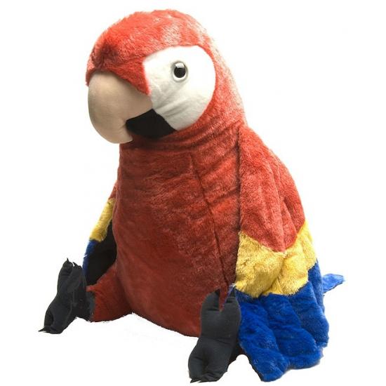 Rode papegaai knuffeldieren 76 cm