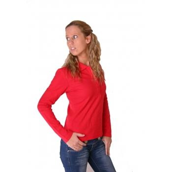 Rode poloshirts met lange mouwen voor dames