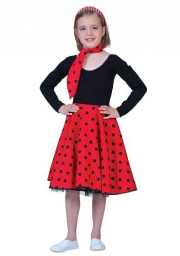 Rode rok met zwarte stippen voor meiden