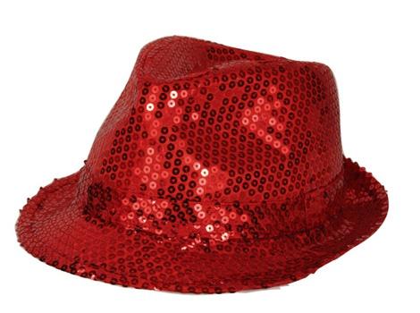 Rood pailletten hoedje