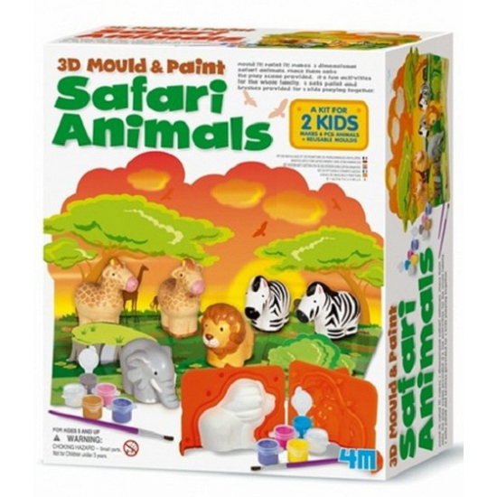 Safari dieren gips setje