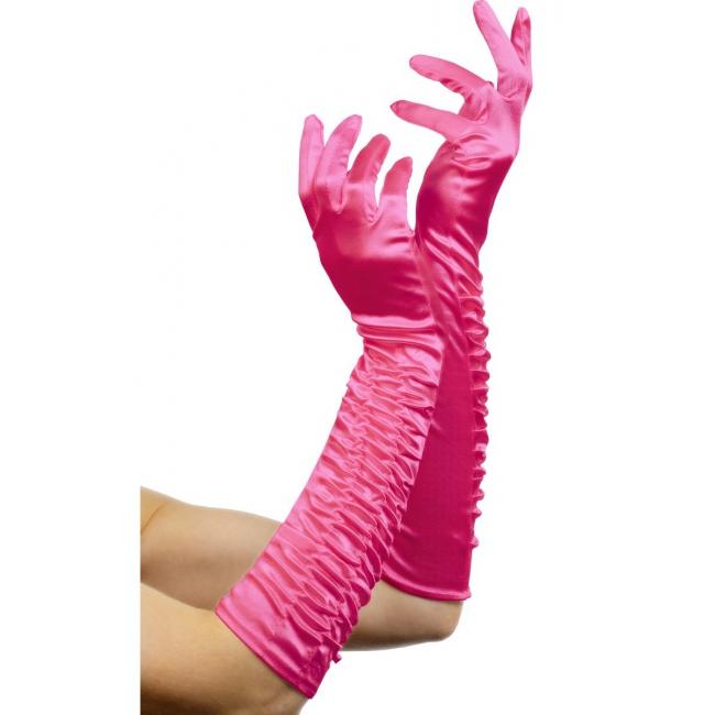Satijn look dames handschoenen roze