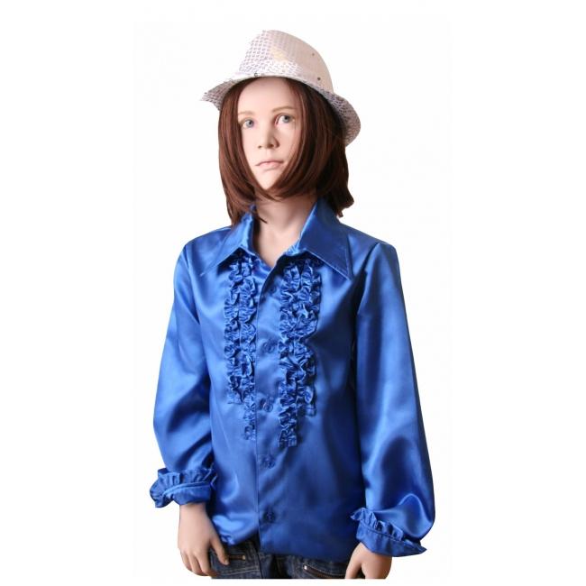 Satijnen blouse kobaltblauw meisjes