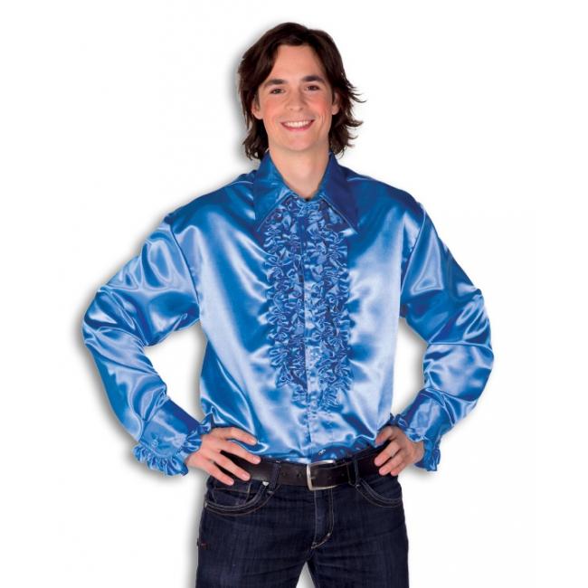 Satijnen overhemd blauw heren